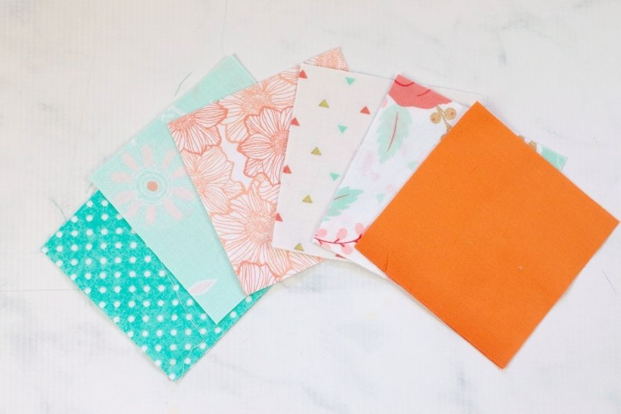 cutting out the fabric squares