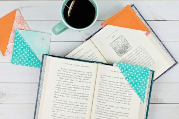 fabric bookmarks on book pages