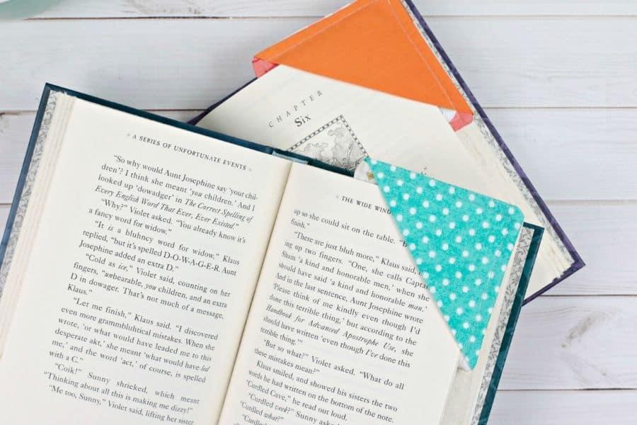 orange and blue fabric bookmarks