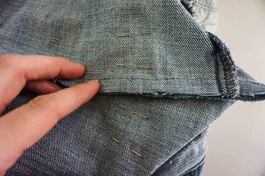 fold in corners of tote bag