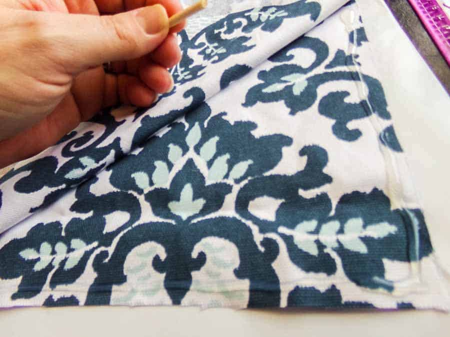 gluing edges of no sew pillow cover