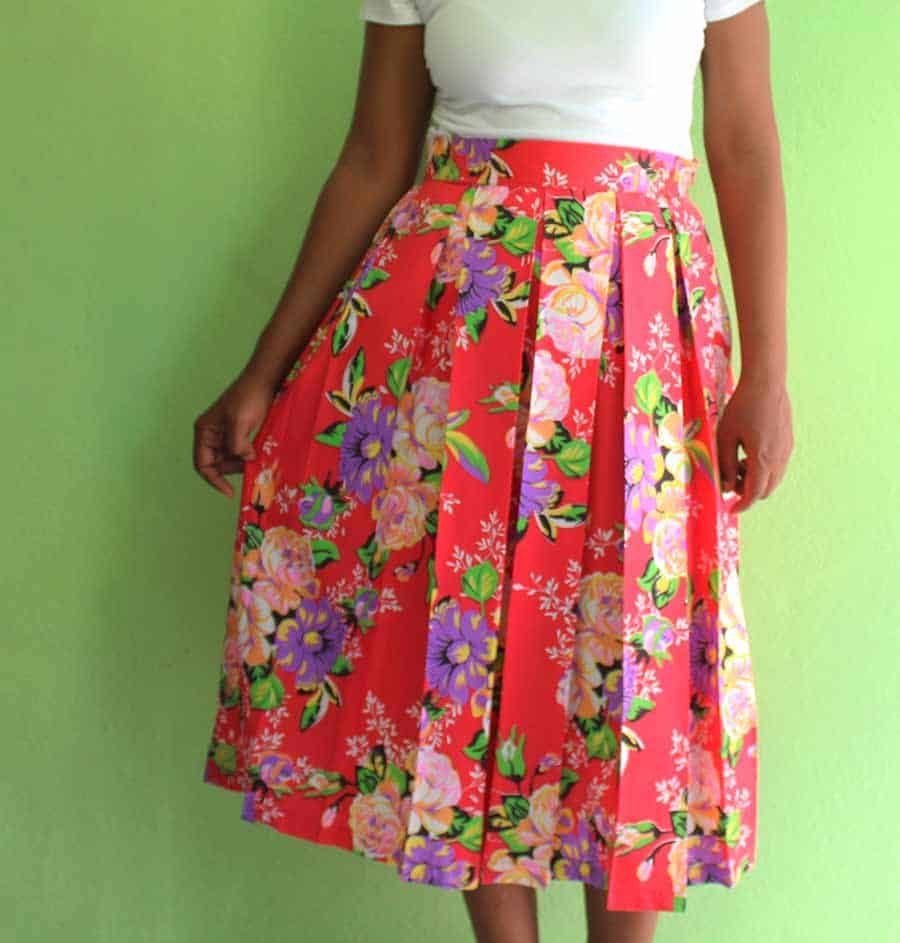 finished pleated skirt