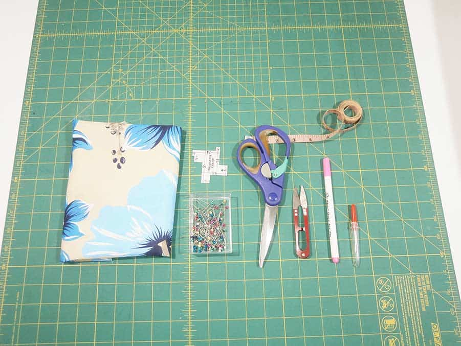 Supplies to make a Wrap skirt fabric scissors and pins