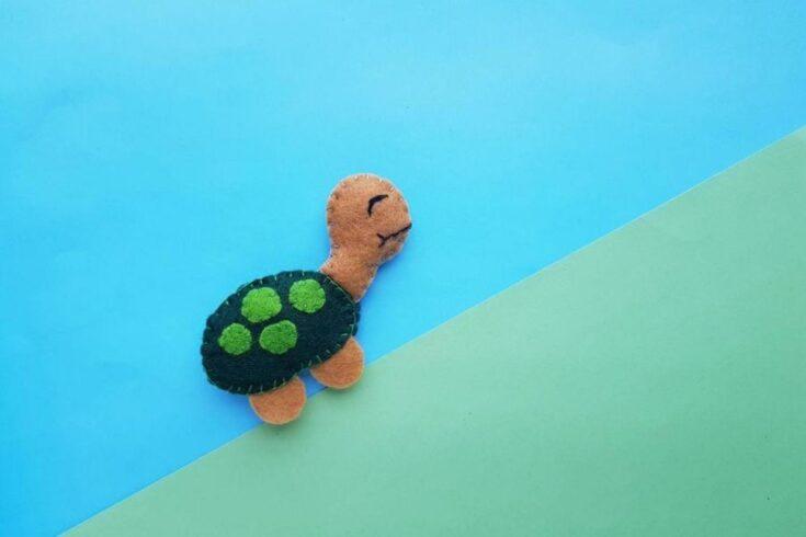 easy felt turtle baby toy create card