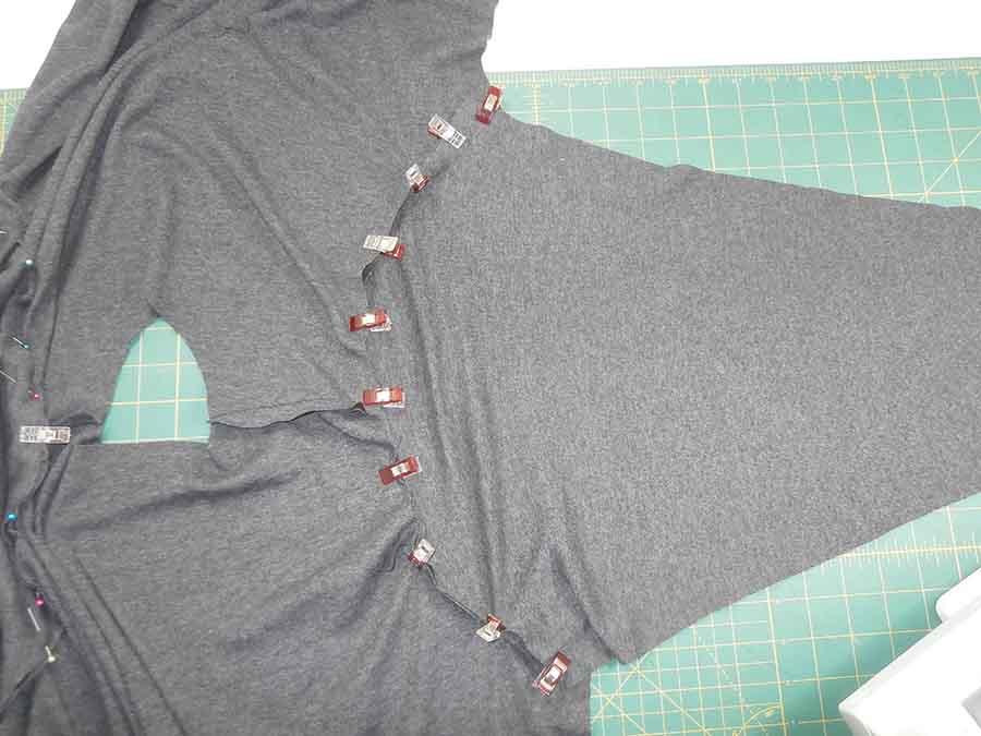 sewing sleeve to hoodie