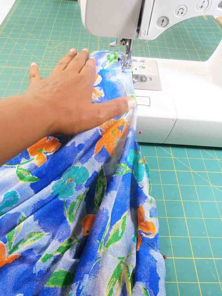 sewing side seams of Easy DIY Kimono Cardigan