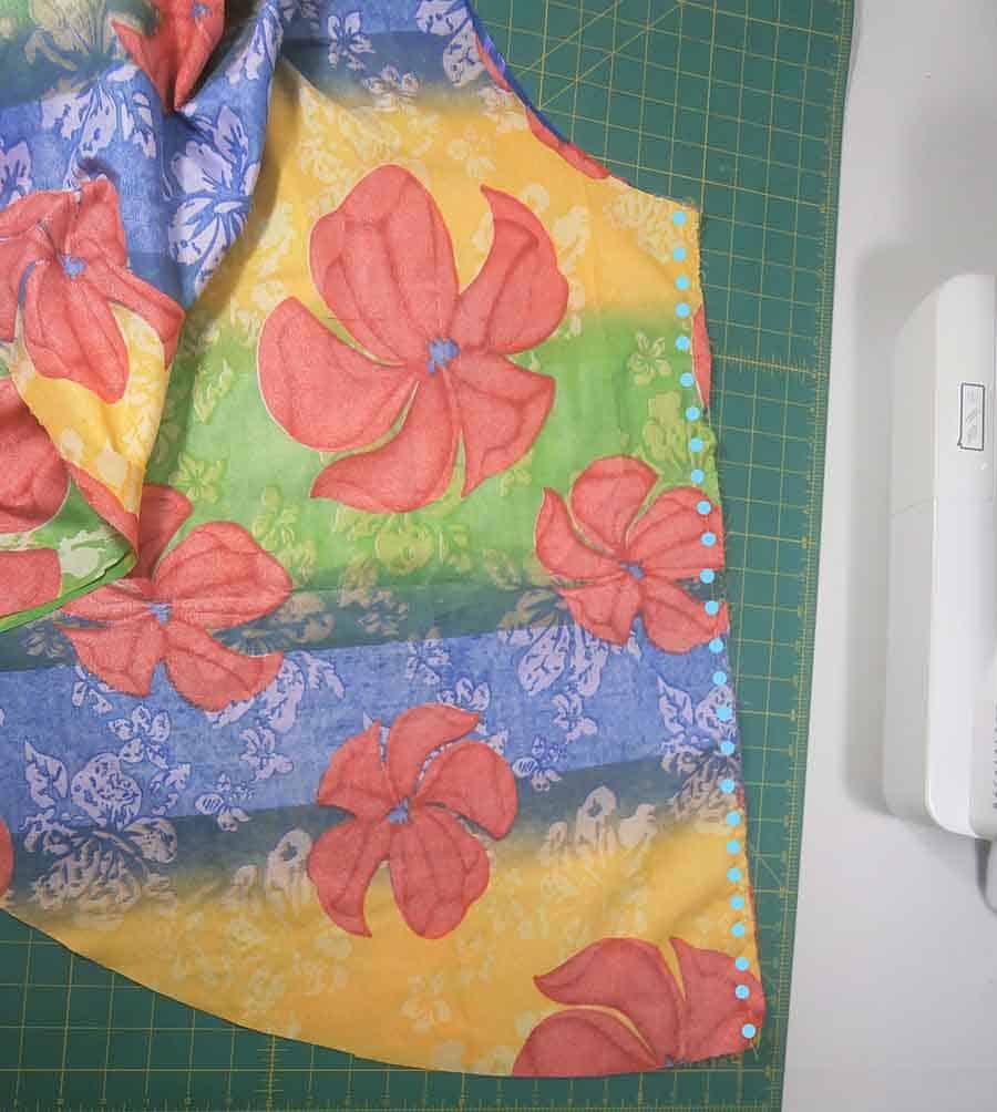 sew side seams of circle skirt