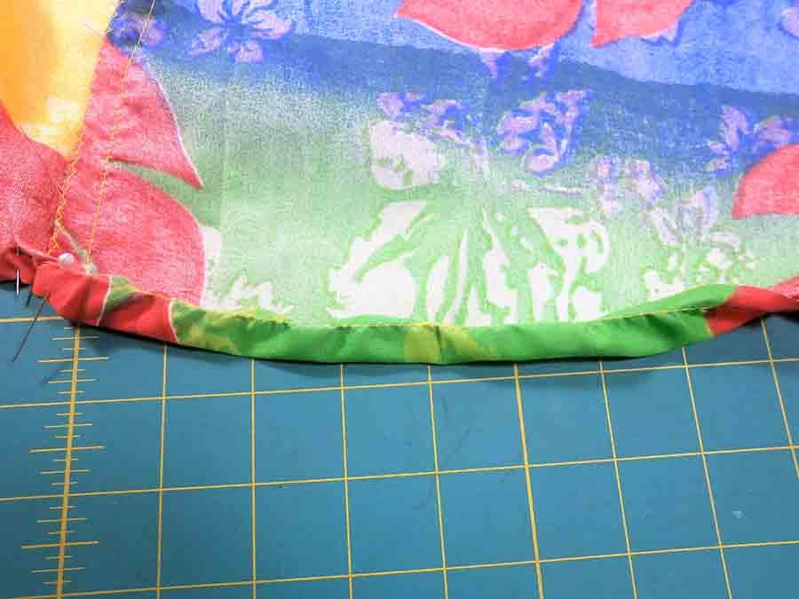 folding over hem of circle skirt