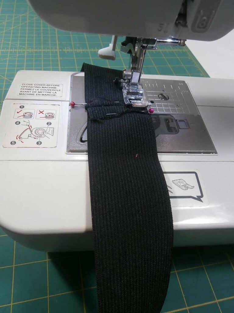 sew a square around waistband of circle skirt seam