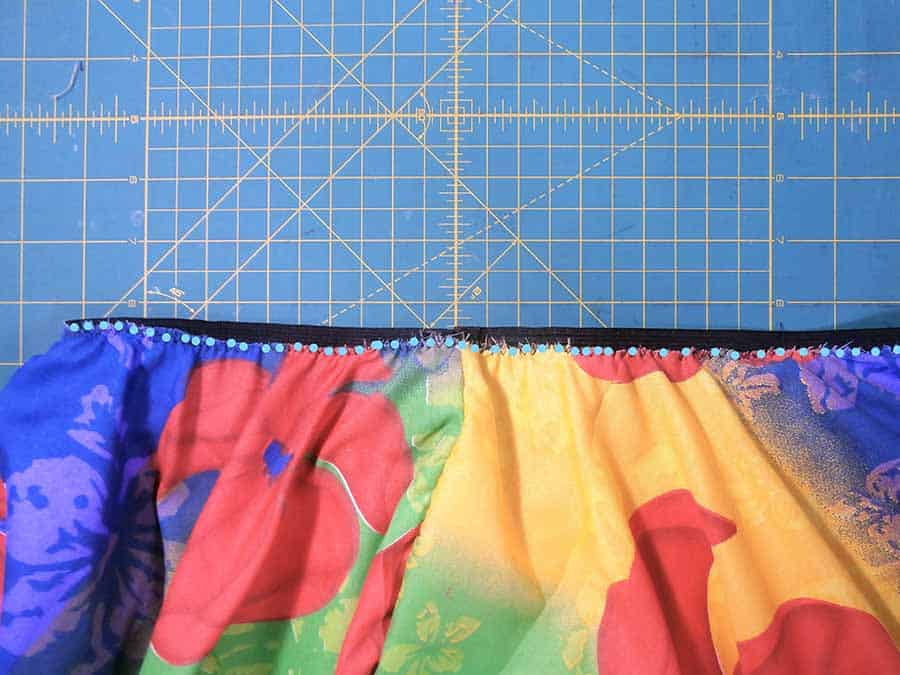 pin elastic waistband to circle skirt