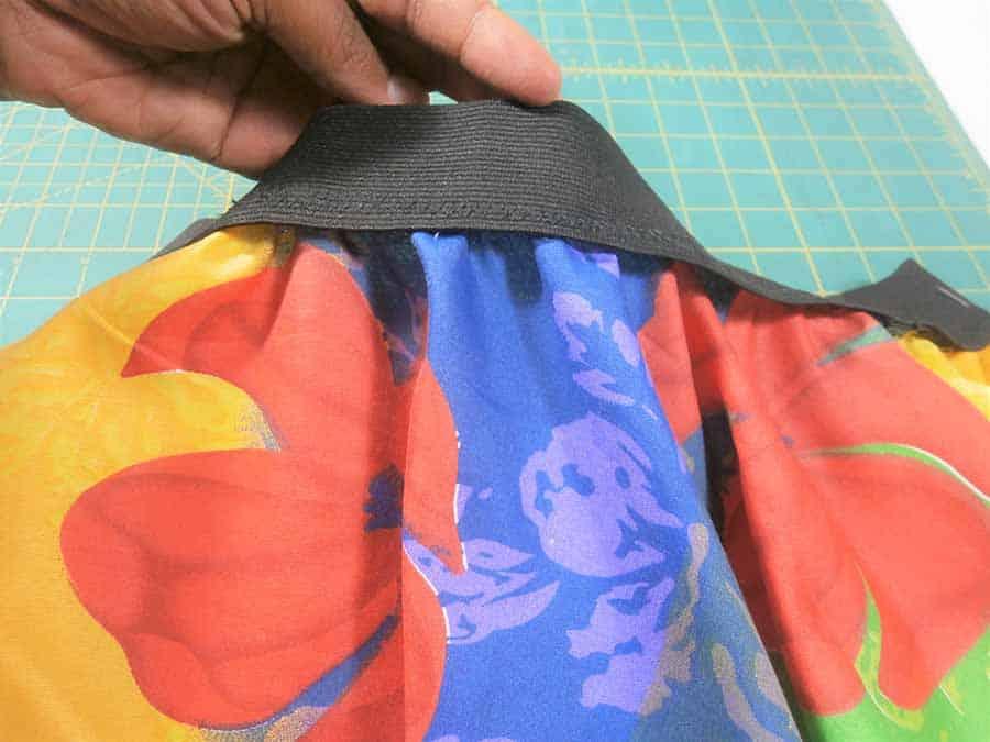 fold over elastic onto skirt