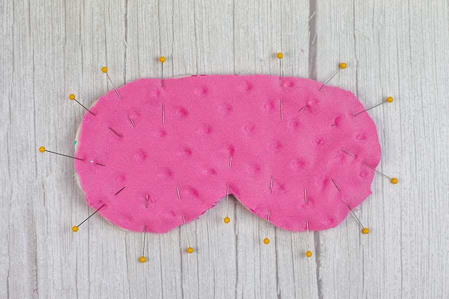 pin layers of DIY Sleep Mask together