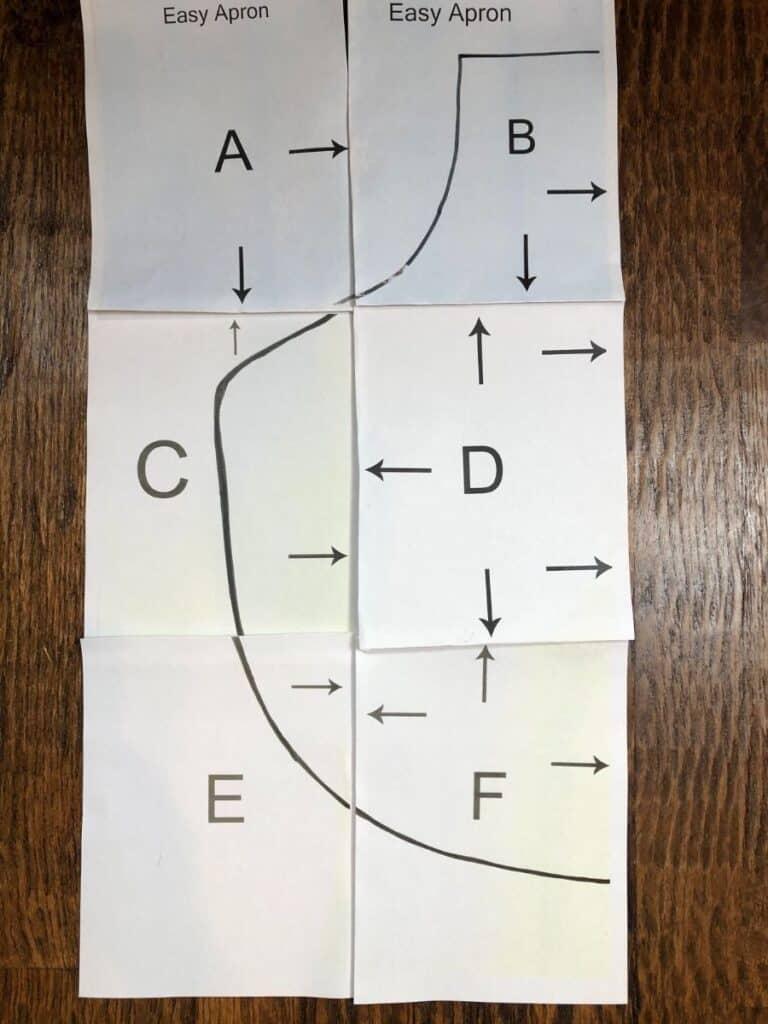 folding the printable apron pattern