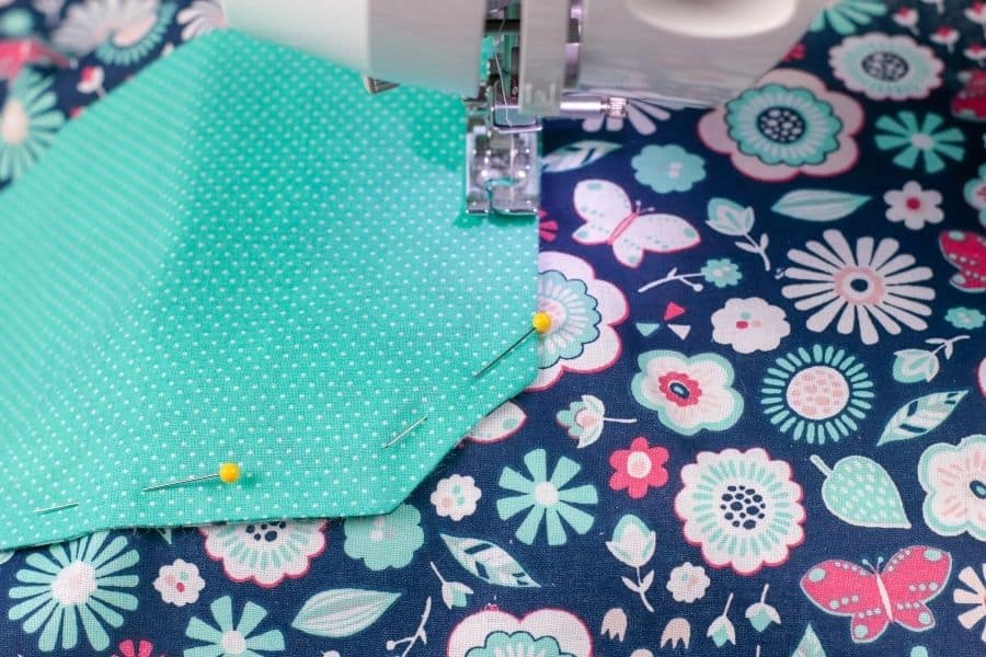 sewing the other fabric piece