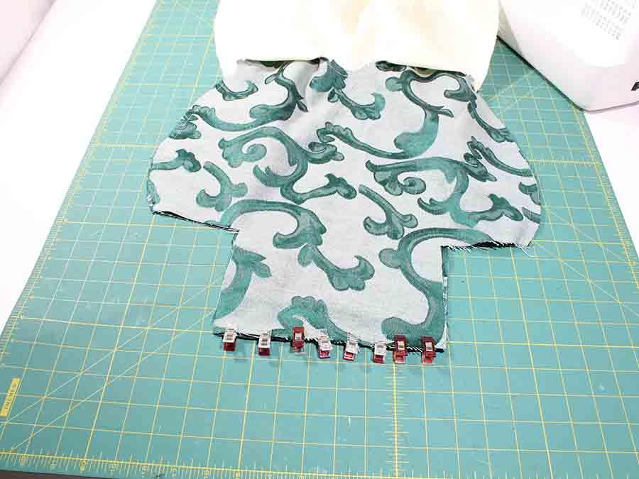 sewing main fabric piece