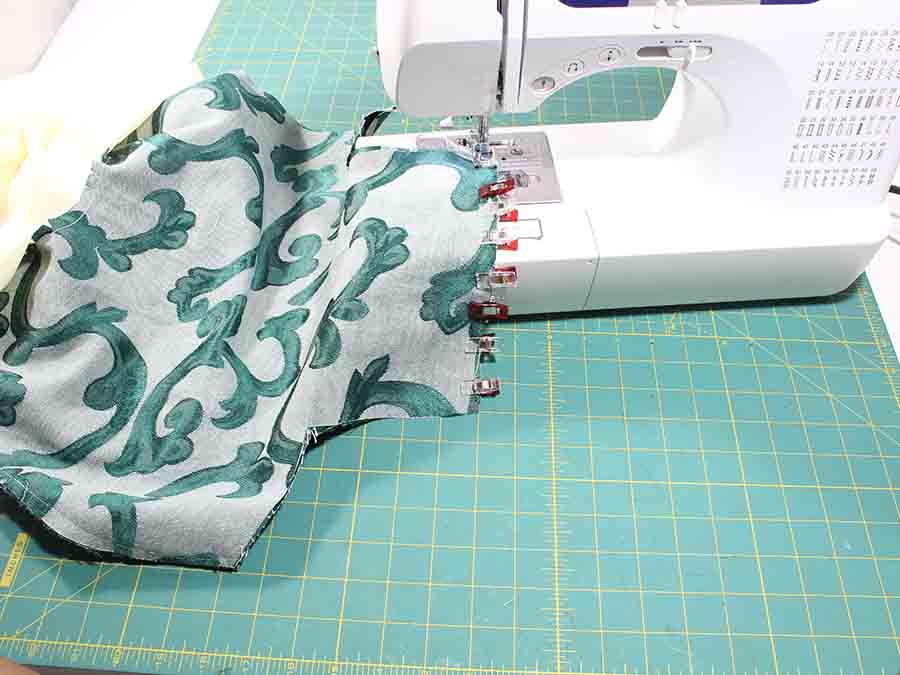 pin and sew main fabric of Easy Sew Slouchy Tote Bag right sides together