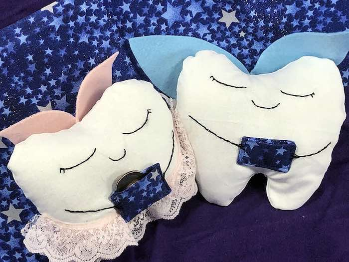 boy and girl tooth fairy pillows with coin pouch