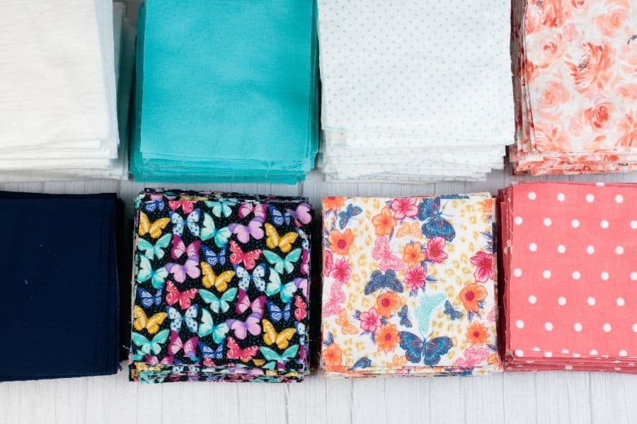 stacks of fabric squares