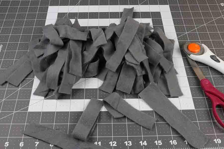 Cut Strips of Fleece