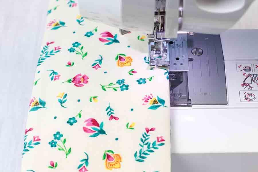 top stitch around fabric beverage holder