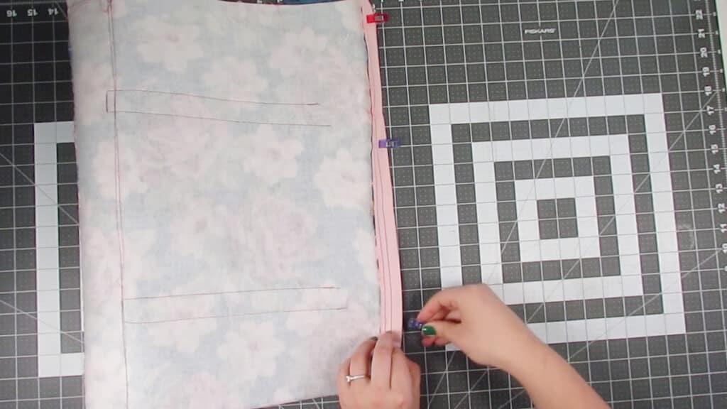 sew zipper to second outer panel