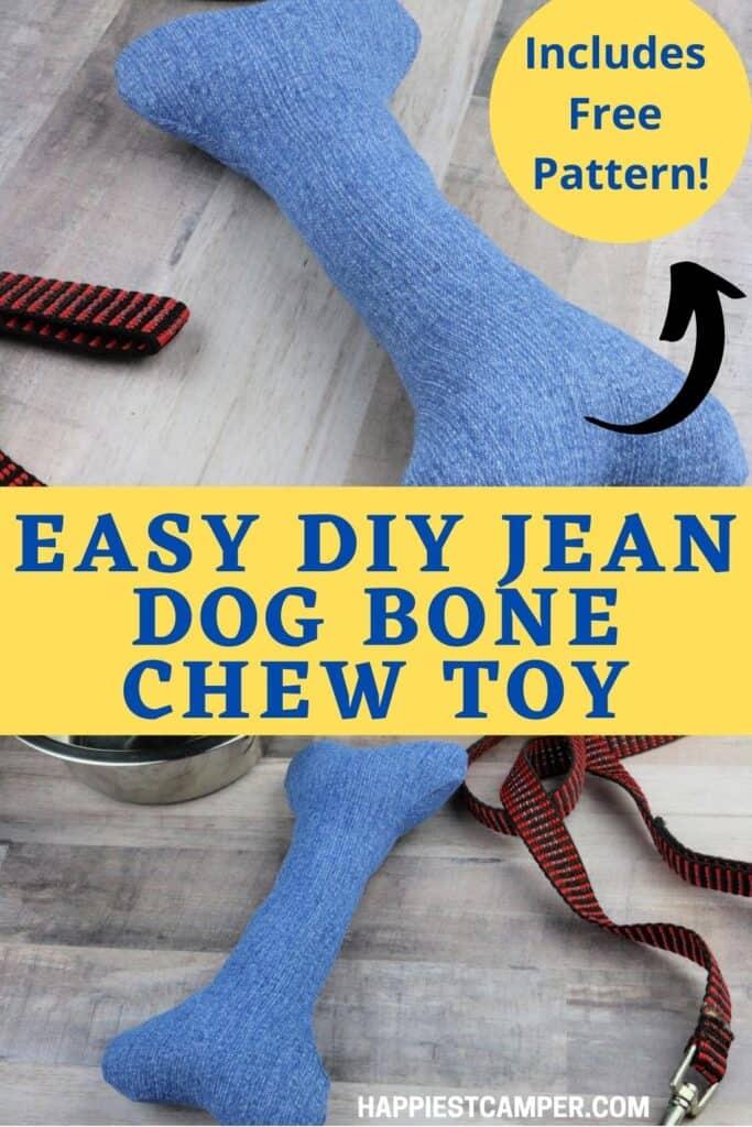 Easy DIY Jean Dog Bone Chew Toy