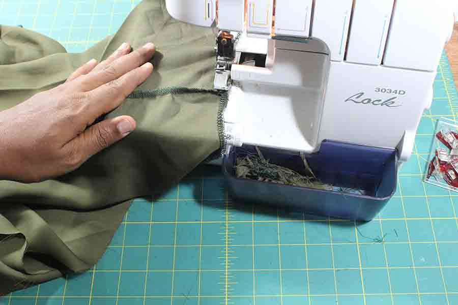 using serger to finish edges of neck and sleeves of peasant blouse