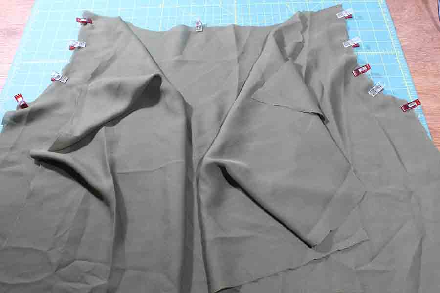 pin sleeves to front bodice of peasant blouse