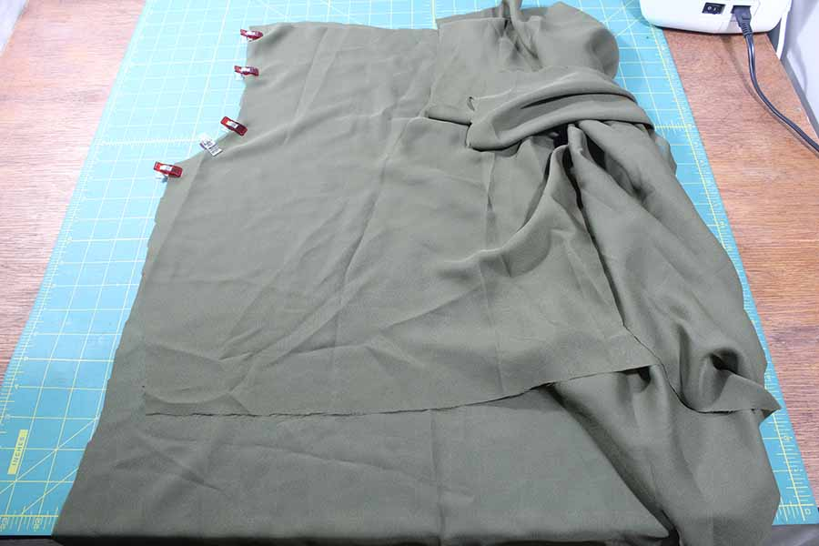 pinning back bodice to front of peasant blouse