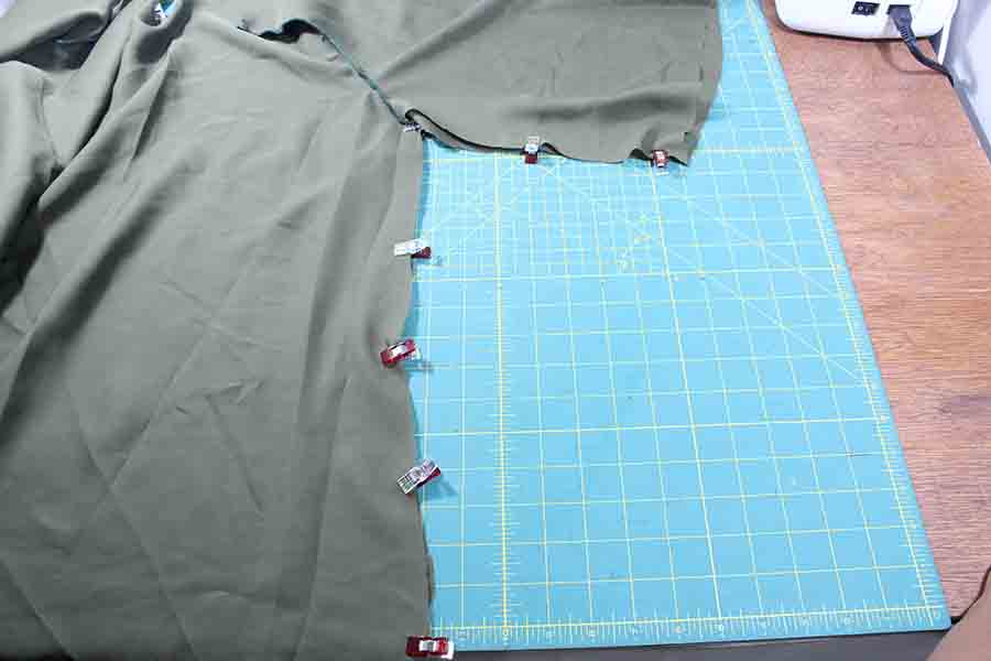 pinning sides and sleeves of peasant blouse