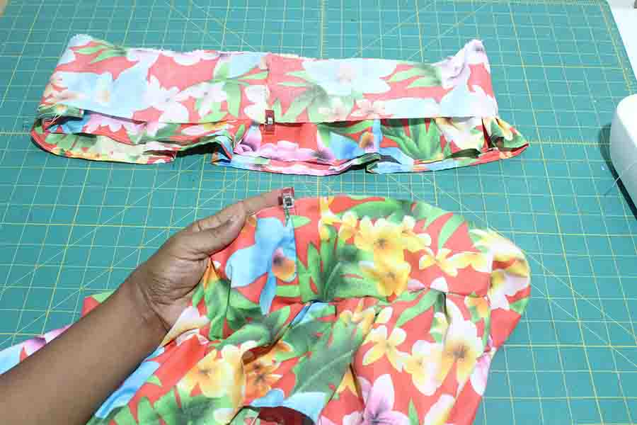 pin connector to ruffle skirt piece