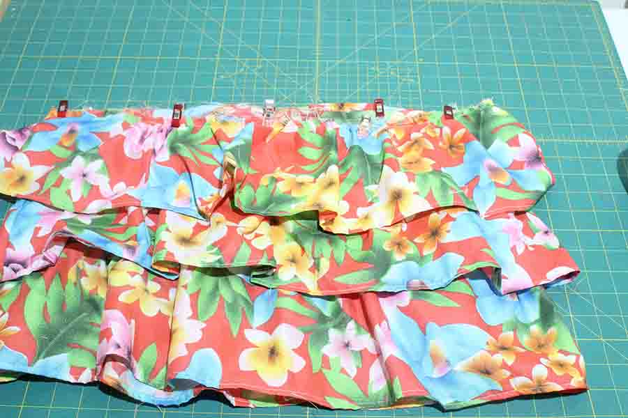 pin and sew last ruffle skirt piece together
