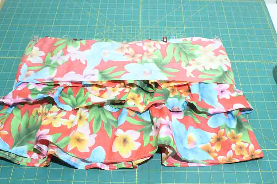 pinning ruffle skirt sections together