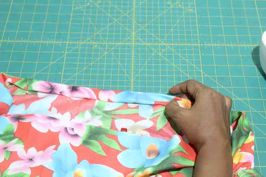 fold channel for elastic for ruffle skirt
