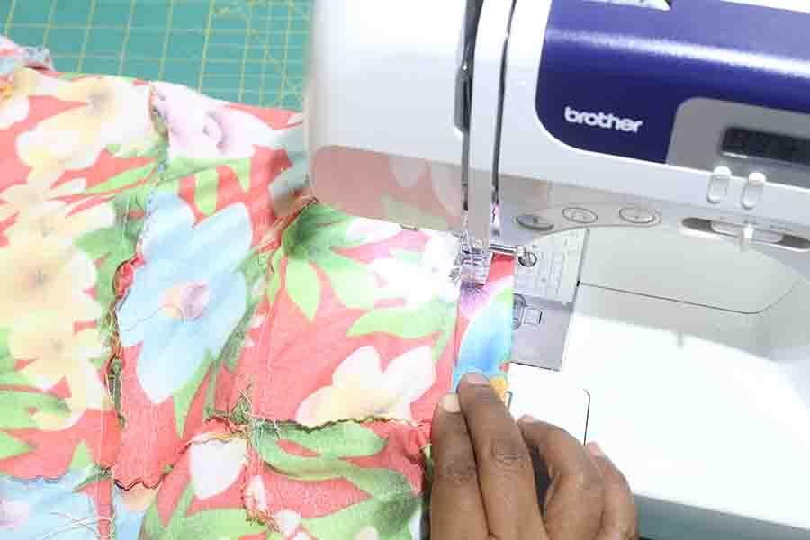 sew opening of elastic for ruffle skirt closed