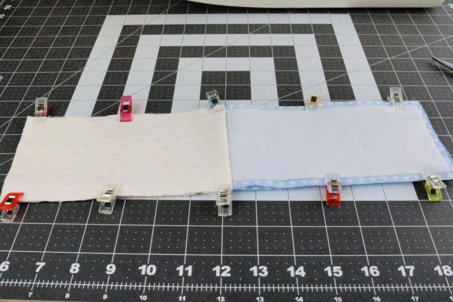 Lay the pieces so that the right sides of the fabric touch and match the fabrics on each side of each piece.