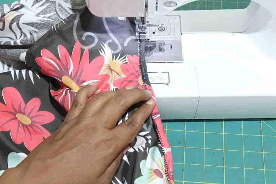 sew armholes with zigzag stitch