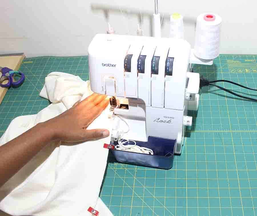 sewing side seams of robe