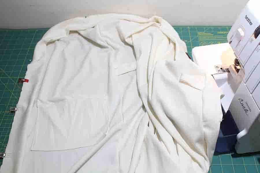 sewing binding to seams of robe