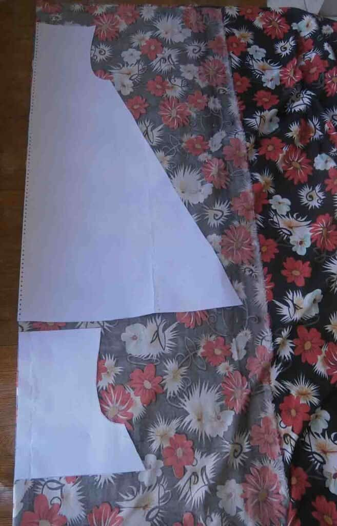 cutting out fabric with pattern