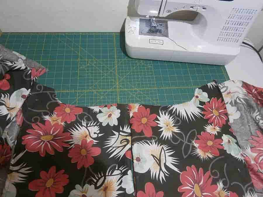 fold dress right sides together & pin the seams
