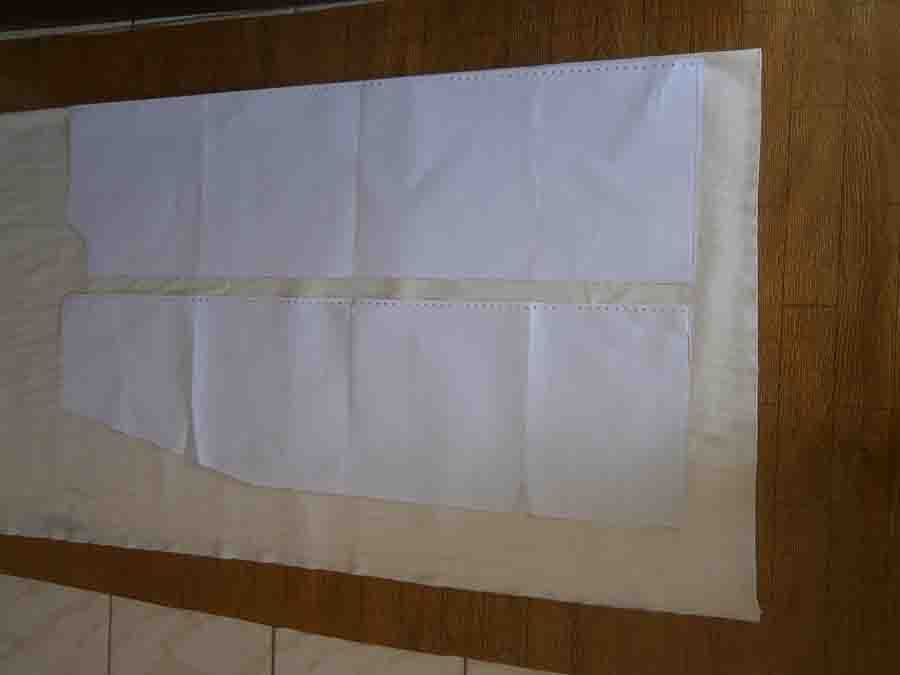 main robe body pattern piece on fabric