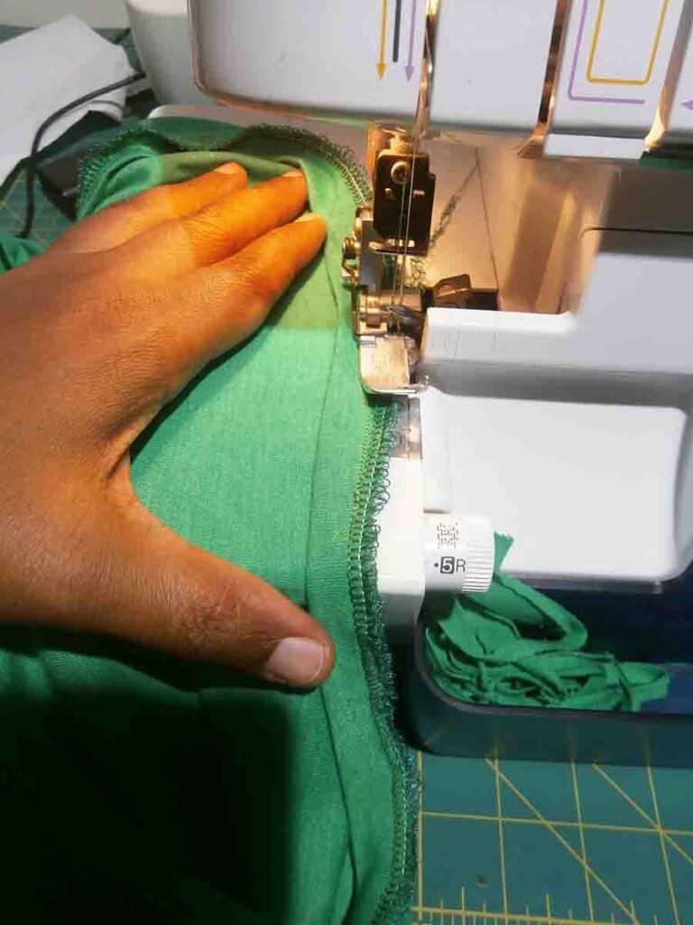 sew on binding to t-shirt dress neckline