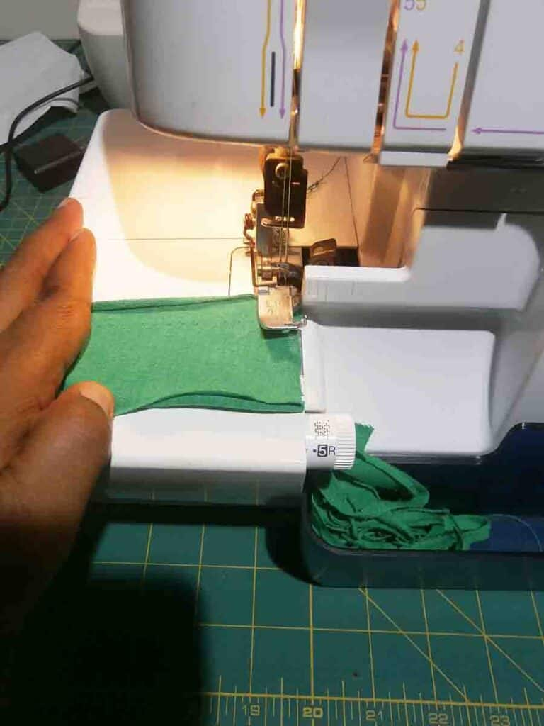 sew short end of binding