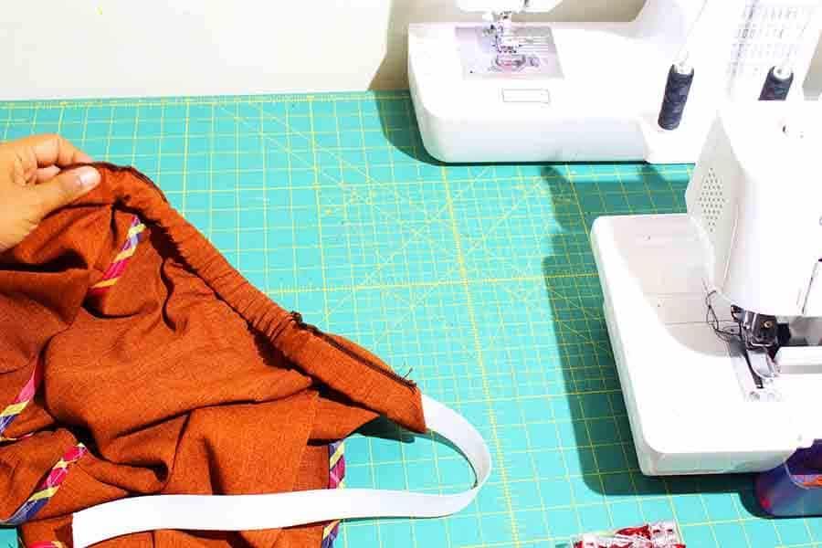 add elastic to gym shorts waistband