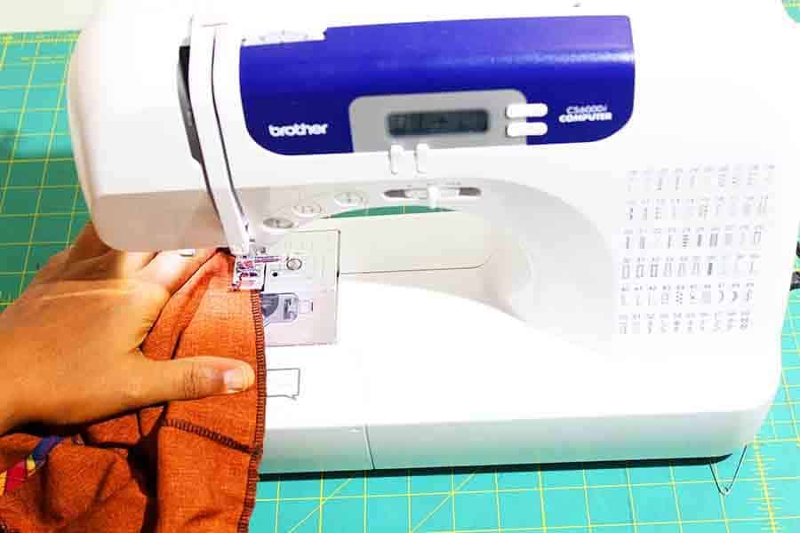sew opening in gym shorts waistband closed.