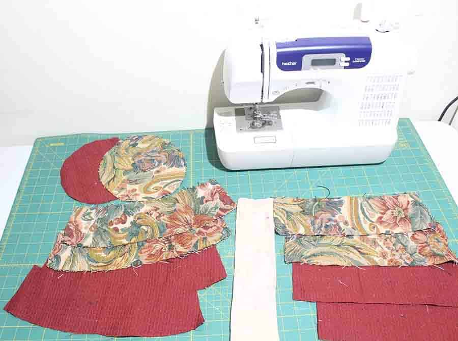 cut fabric hat pieces