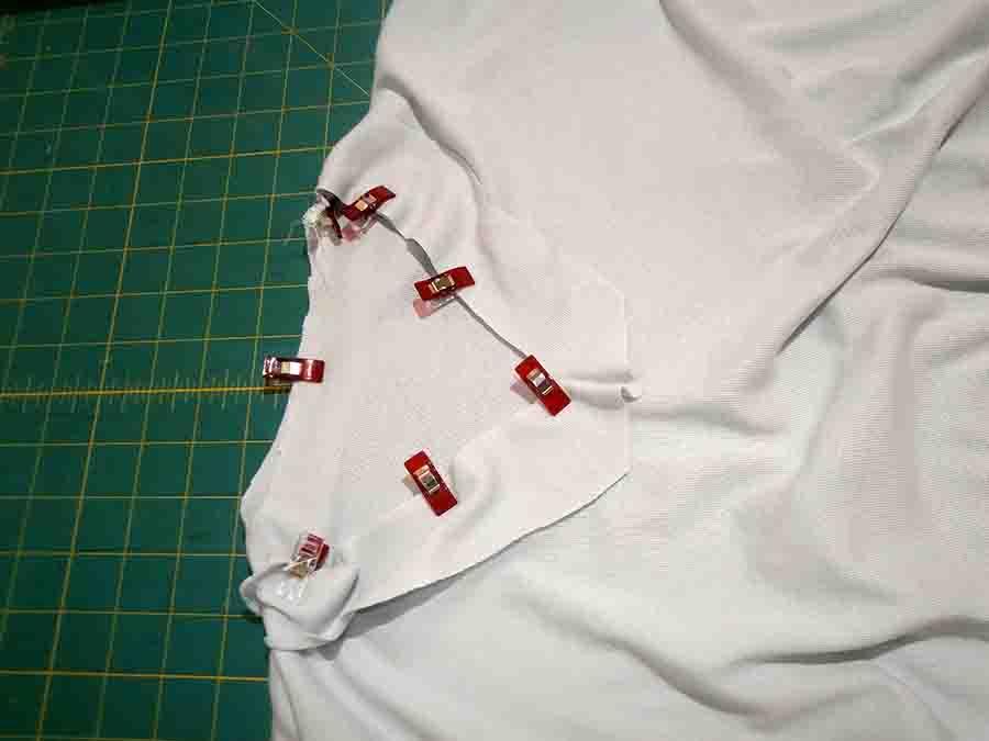 pin neck facing to maxi dress