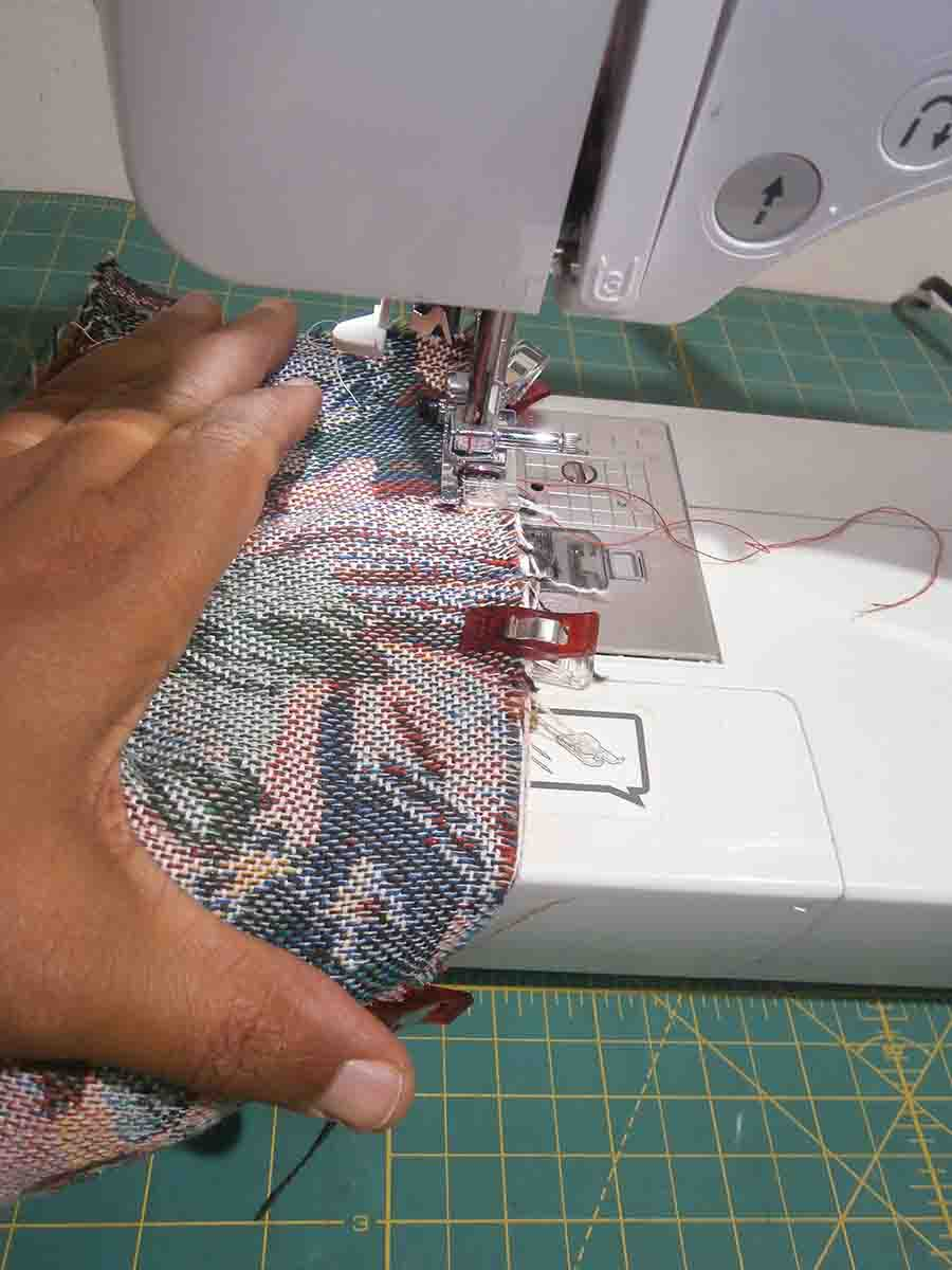sew hat brim and crown pieces together