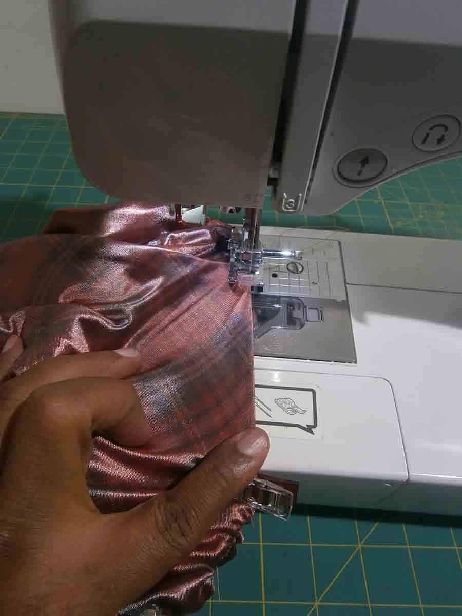 sew around entire leg of swimsuit